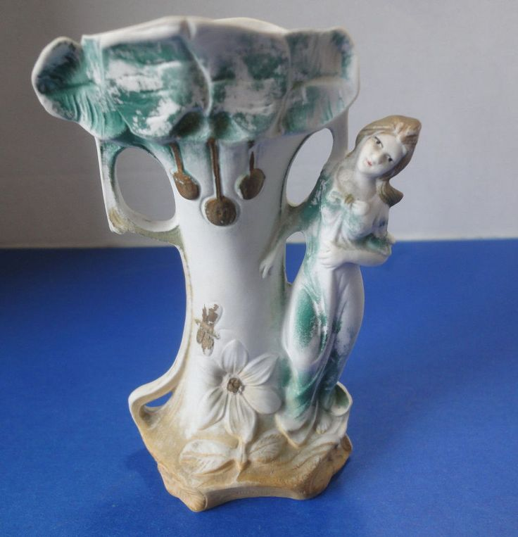 Vintage Bisque Ornate Figural Vase Embossed Floral with Lady