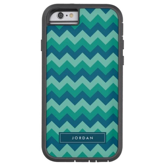 Trendy Preppy Teal Blue Chevron Monogram Tough Xtreme iPhone 6 Case by Rosewood and Citrus on Zazzle