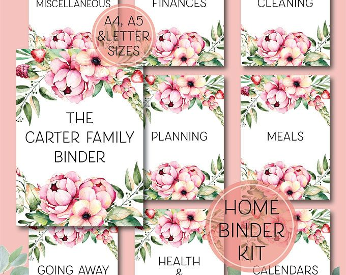 Complete Home Binder Kit - Printable household binder planning kit, letter, A4 and A5 sizes
