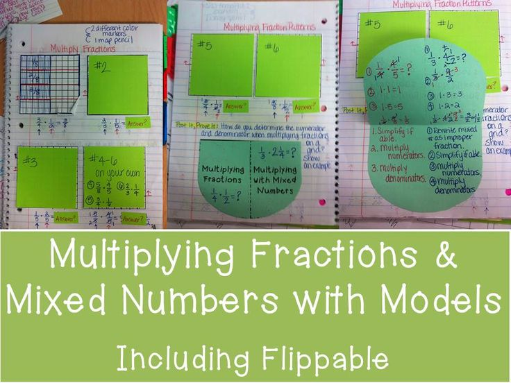 multiplying fractions & mixed number with models for notebook