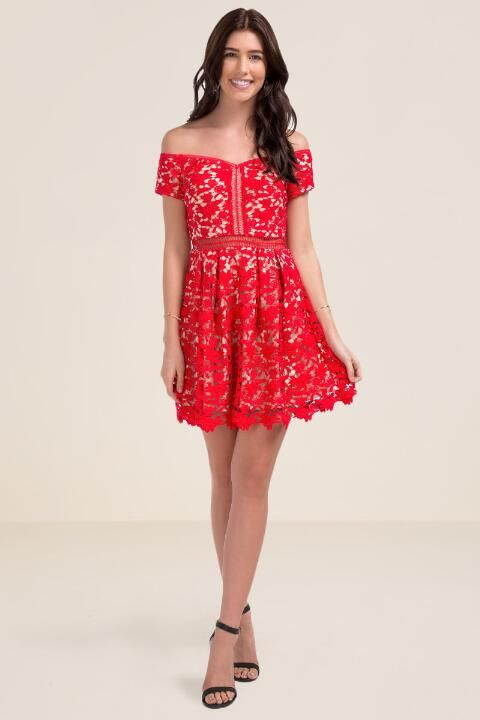 Beverly Off The Shoulder Lace Dress- Red model