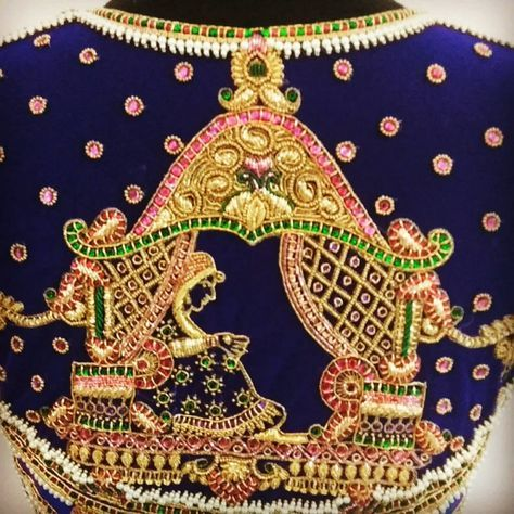 Palki design in zardozi and Kundan !! Intricate detailing by naziasyed . Beautiful royal blue color designer blouse with pallaki design hand embroidery thread and bead work. 10 November 2017