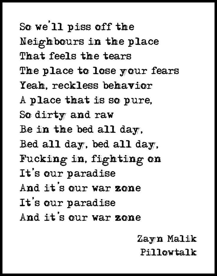 Zayn Malike - Pillowtalk - Lyric Art - Music Lyric Art by CoffeeAndDrawing on Etsy