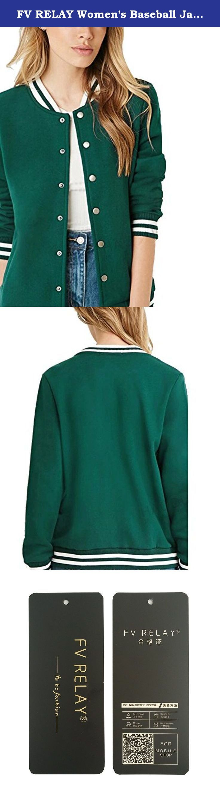 FV RELAY Women's Baseball Jackets Casual Varsity Velvet Short Coats Outwear (M,Green). Descriptions: Black White Hit Color Rib Mosaic Baseball Clothes . NEW Autumn Winter Velvet Warm Jacket ( Please refer to the model pictures ) The sizes in our listing are Asian size and it is maybe 1-2 sizes smaller than US size, pls choose the right size. The fittest size is the best. Measurements: S : Length-59.5(cm); Bust-92(cm); Sleeve-59.5(cm); Shoulder-36(cm). M : Length-60.5(cm); Bust-96(cm);...