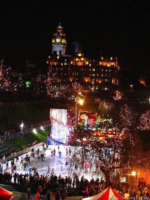 Ice Skating at East Princes Street Gardens,  Edinburgh, Scotland  Dec 2014