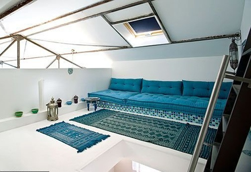 blue by the style files, via Flickr: Ideas Living, Arabian Interiors, Dreams House, Living Room, Room Ideas, Blue Inspiration, Colours Blue, Attic Room, Style File