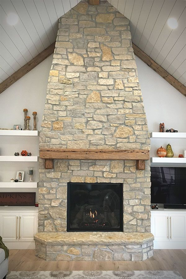 Custom Mill Creek Veneer Stone Fireplace Hearth Surround
