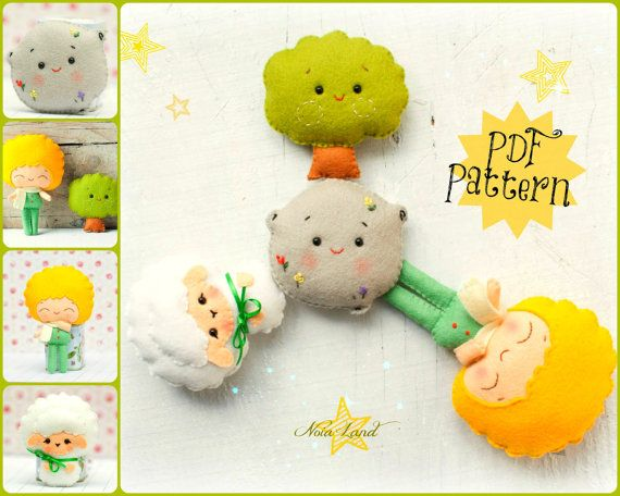 PDF. The tiny prince pattern. Tree Pattern. Asteroid Pattern. Lamb Pattern. Plush Doll Pattern, Softie Pattern, Soft felt Toy Pattern.