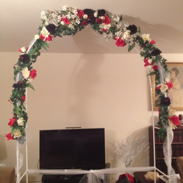 Stairway Decorated With White Tulle And Red Silk Roses: Floral Arch For The Ceremony. I Used Silk Apple Blossom