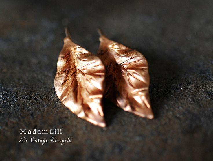 70er Vintage Rosegold Blatt Ohrringe von MadamLili - Lebensfreude zum Tragen! :) auf DaWanda.com