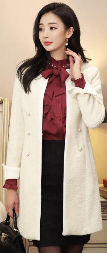 StyleOnme_Pearl Button Slim Fit Tweed Jacket #ivory #tweed #jacket #koreanfashion #kstyle #kfashion #wintertrend