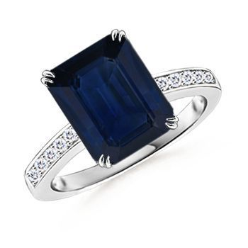 REVEL: Sapphire Engagement Ring (dark Blue, Emerald cut). But without any diamond accents on the band or around the stone.