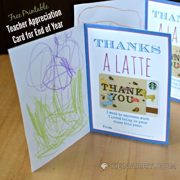 "Free Printable Teacher Appreciation Card for the End of School. Attach a coffee gift card and have your child decorate to say ""thank a latte"" for a great year! - Kenarry.com"
