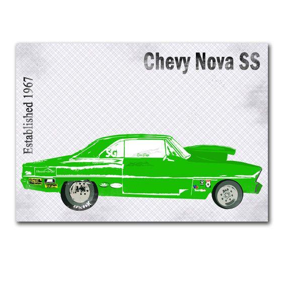 1967 The Chevrolet Chevy  Nova SS  sports car green by ialbert, $30.00