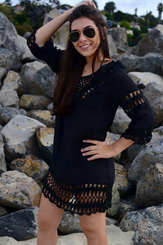 Black crochet beach dress by khokhobay on Etsy