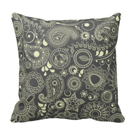 Steel Paisley Abstract Throw Pillow