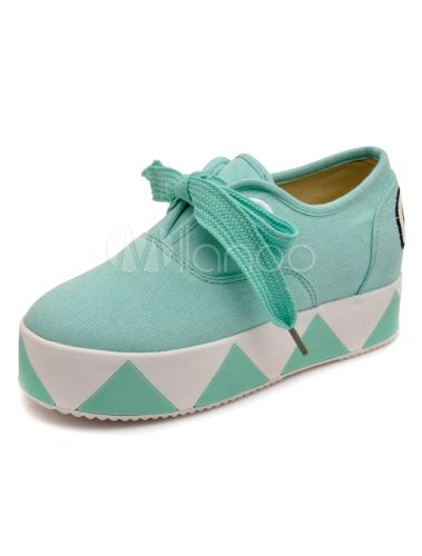Fantastic Teal Grommets Round Toe Cloth Lady's Wedge Shoes - Milanoo.com