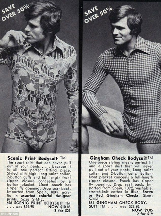 Tight and bright: Labelled bodysuits they combine a range of snazzy shirts with a pairs of underwear to create a bizarre garment