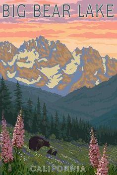 Big Bear Lake, California - Bears and Spring Flowers - Lantern Press Artwork (16x24 Gallery Quality Metal Art), Multi
