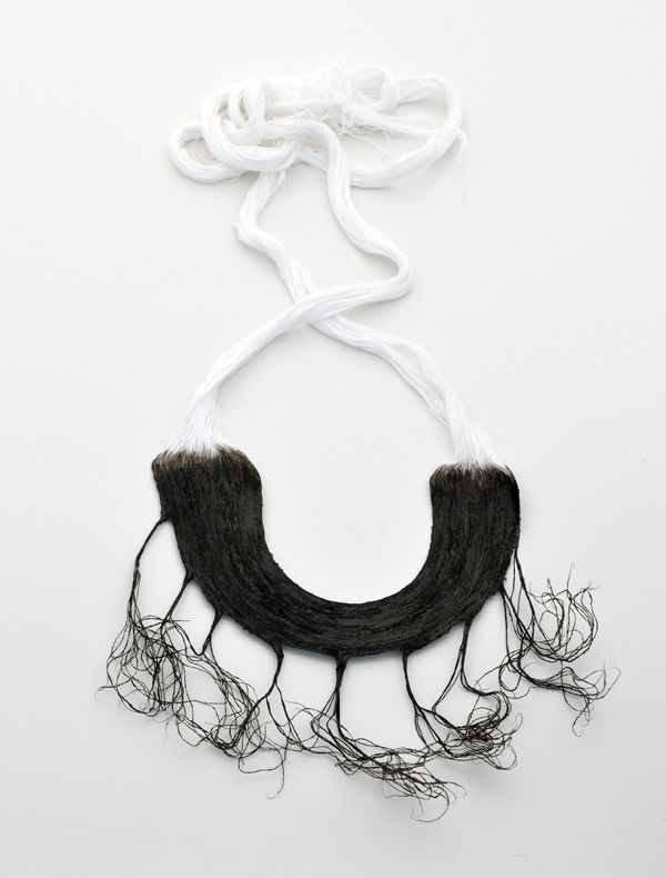 "Odelia Liberman, ""Black Gold"", Necklace, 2013   Cotton thread, tar polish, glue. Pasting, unthreading"