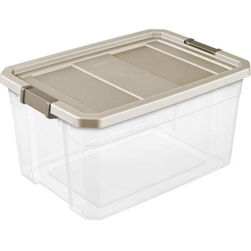 Sterilite 19 gallon 76 quart stacker storage bins clear for Garage totes 76