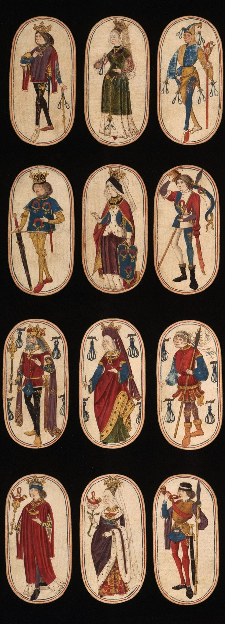 From a set of playing cards, ca. 1470–1485, South Netherlandish -- The Cloisters set of fifty-two cards constitutes the only known complete deck of illuminated ordinary playing cards from the 15th century. There are four suits, each consisting of a king, a queen, a knave, and ten pip cards. The suit symbols, based on equipment associated with the hunt, are hunting horns, dog collars, hound tethers, and game nooses. The figures appear to be based on Franco-Flemish models.