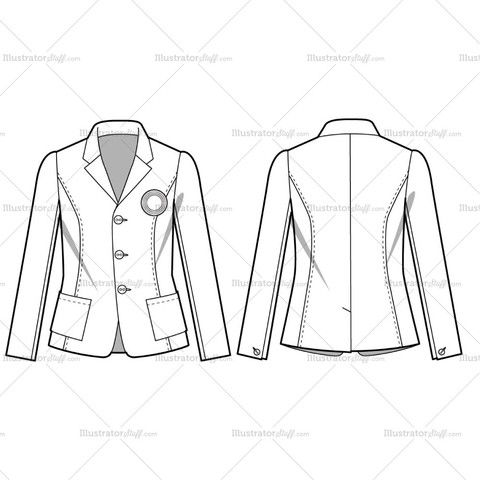 Women's Casual Blazer Fashion Flat Template