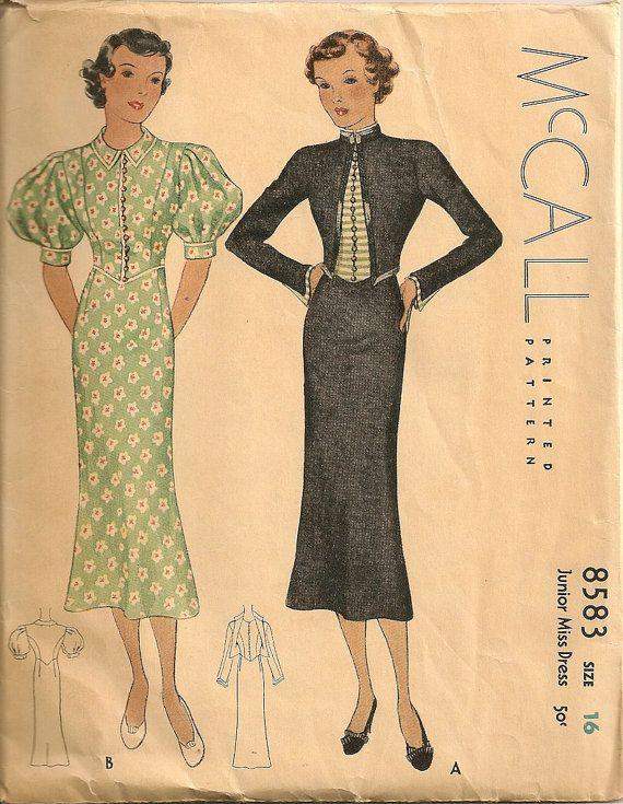 McCall 8583 after Creed | ca. 1936 Junior Miss Dress