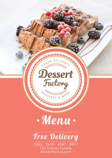 elegant dessert menu template
