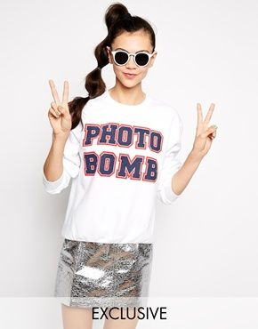 #photobomb #sweat #oversize #white #pink #girl #fashion by ADOLESCENT CLOTHING