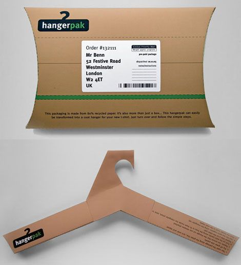 A Cardboard Box Becomes A Hanger  An innovative and award winning packaging design – the hangerpak by graphic designer Steve Haslip, who has devised a way to reuse the package that your clothes are packed in. With instructions provided behind the cardboard pack, you can easily convert it into a fully functional clothes hanger. I love it! It'd be even better if the cardboard box comes in a variety of colors and patterns.