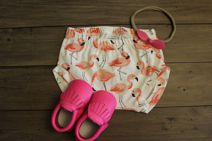 Hot Pink Moccs and Bubblegum Bow! Perfect outfit for summer. Moccs and Bow: Mia's Moccs Shorts: Modern Baby
