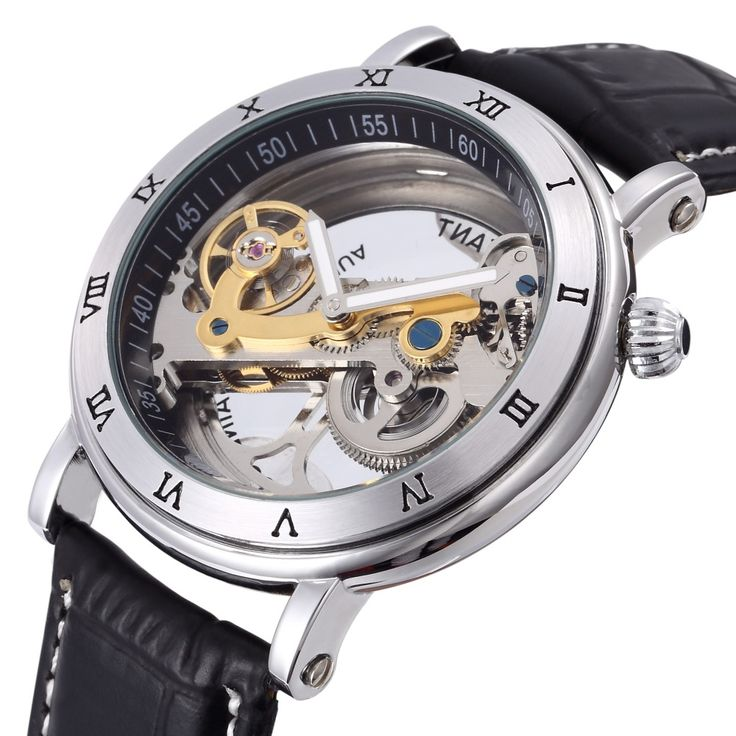 ==> [Free Shipping] Buy Best Automatic Self Wind Skeleton watch Hollow out Dial Mechanical Watches man Leather relogio masculino Rome Exquisite carved Watch Online with LOWEST Price | 32692289529