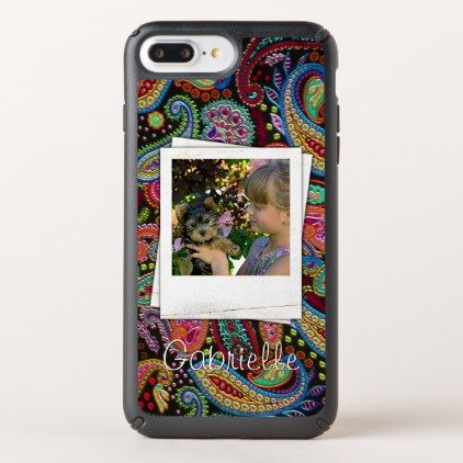 Fun Custom Paisley Floral Pattern Your Name Photos Speck iPhone Case - kids kid child gift idea diy personalize design