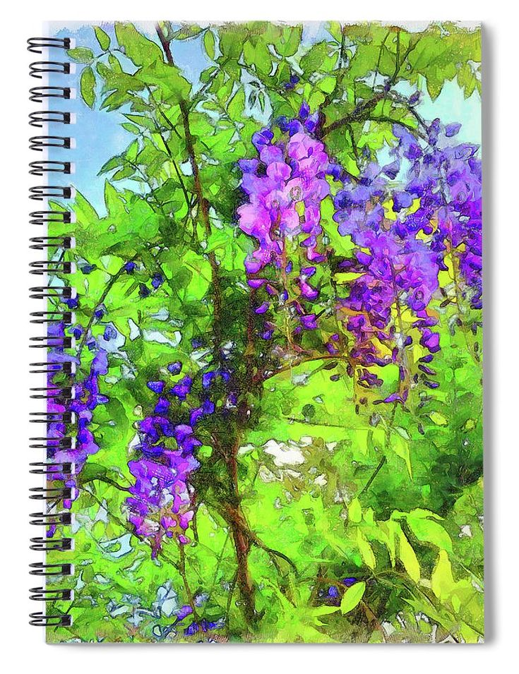 """This 6"""" x 8"""" spiral notebook features the artwork """"Wisps Of  Wisteria"""" by Leslie Montgomery on the cover and includes 120 lined pages for your notes and greatest thoughts."""