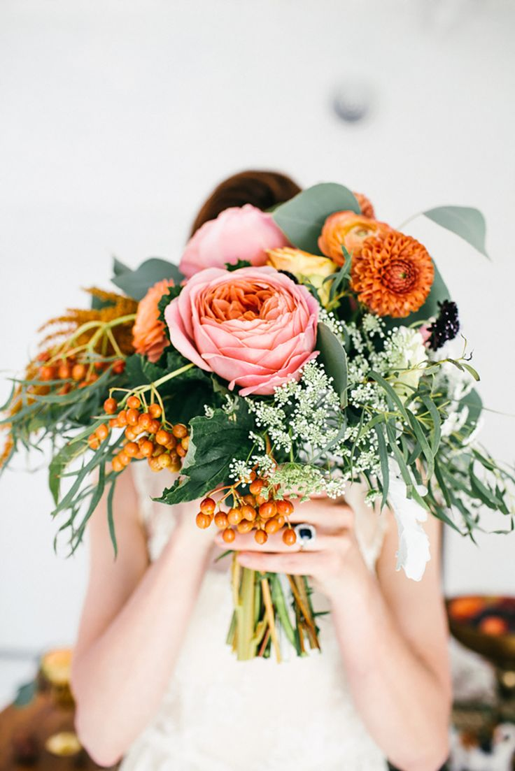 Orange and Pink Wedding Flowers | photography by http://www.emmylowephoto.com | floral design by http://www.jolleysgifts.com