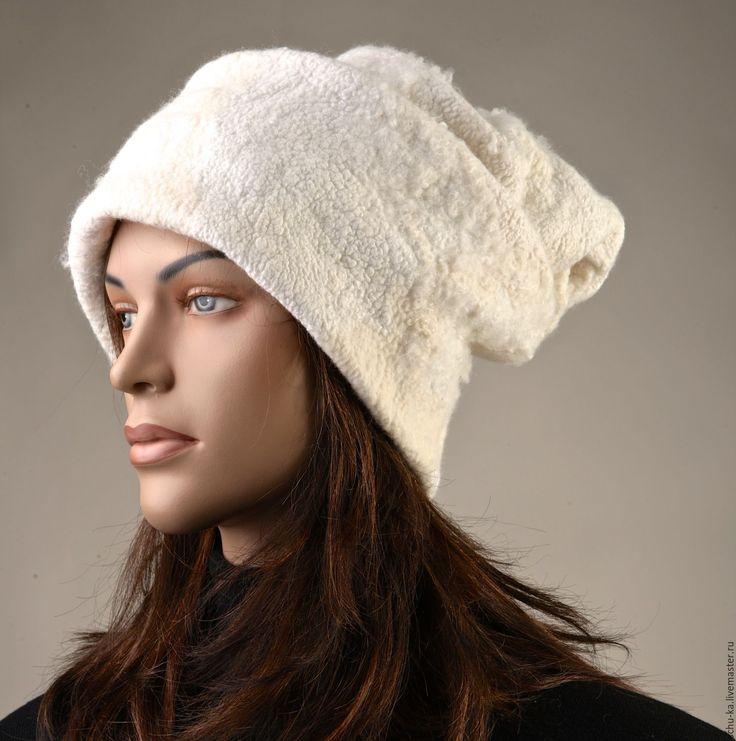 """Купить Шапка валяная из шерсти """"Взбитые сливки"""" - шапка, шапка вязаная, шапка женская"""
