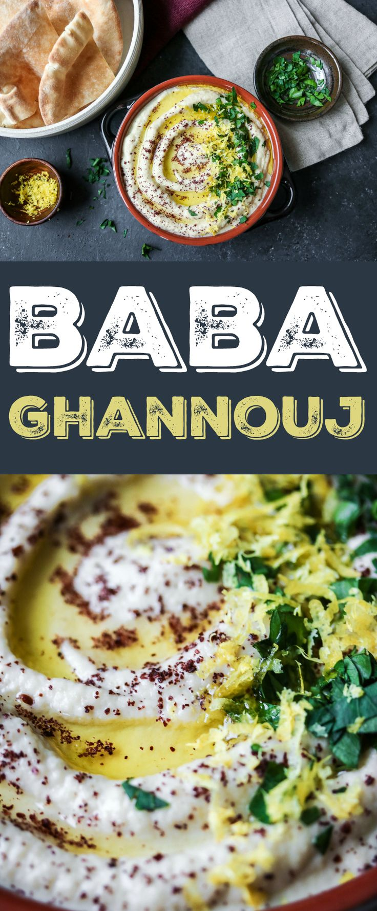 My favorite recipe for baba ghannouj - made with eggplant, tahini, and yogurt!