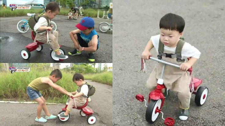 "Song Il Gook's Triplets Learn How to Pedal On ""Superman Returns"""
