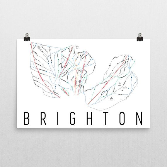 Brighton Ski Map Art, Brighton Utah, Brighton Trail Map, Brighton Ski Resort Print, Brighton Poster, Art, Gift