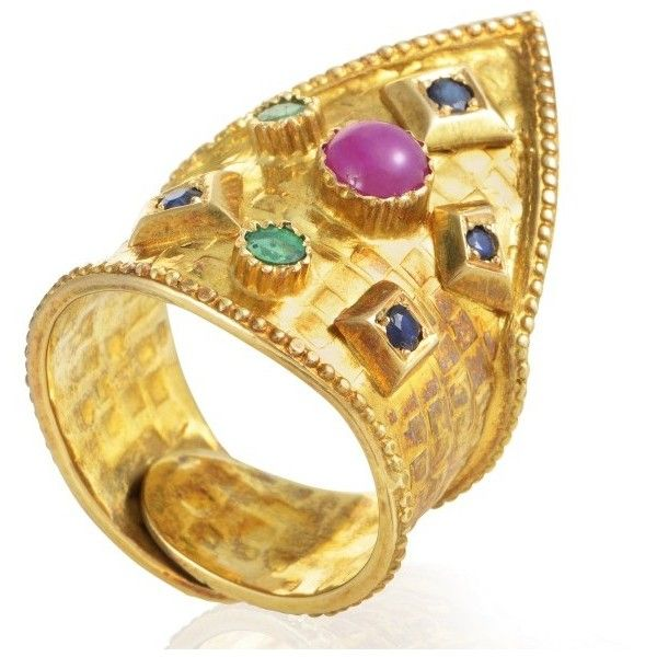 pre owned ilias lalaounis 18k yellow gold precious gemstone crown ring - Preowned Wedding Rings