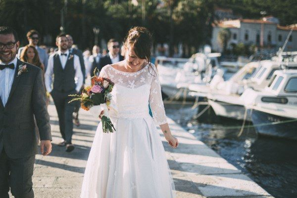 Lace Sleeve Dress Bride Rustic Outdoor Croatia Destination Wedding https://www.facebook.com/LiliZanetaPhotography https://www.facebook.com/AnteaMrcelaPhotography