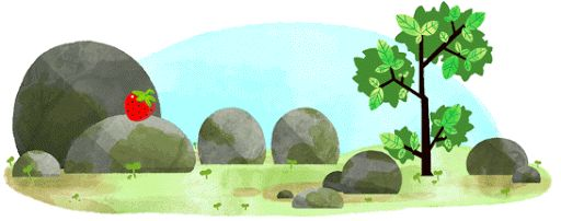 Google Doodles: Summer Solstice 2016 (Southern Hemisphere). [I think it's cute how this gif has a similar format as the Winter Solstice (Northern Hemisphere), except the latter has snow on the rocks and the leaves are all off of the tree.]