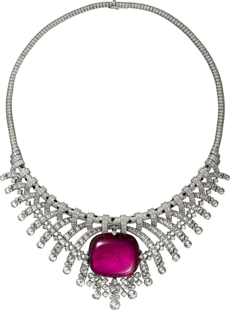 CARTIER. Necklace - platinum, one 93.81-carat cabochon-cut rubellite, onyx, rose-cut diamonds, square-shaped diamonds, brilliant-cut diamonds. #Cartier #CartierMagicien #HauteJoaillerie #FineJewelry #Panthère #PinkTourmaline #Diamond #Onyx