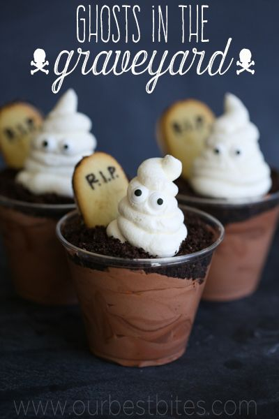 "Ghosts in the Graveyard chocolate pudding cups with Oreo ""dirt"" from Our Best Bites! So cute!!!"
