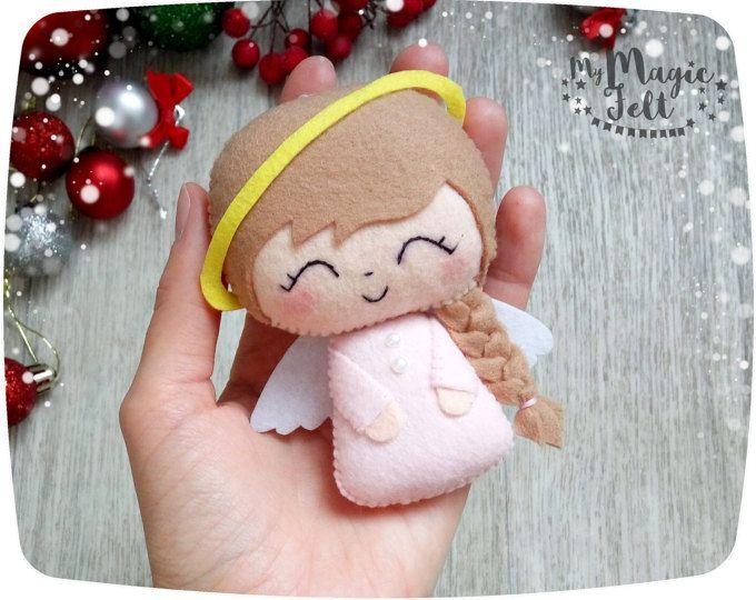 Kerst ornamenten voelde Angel kerst ornament Cute Kerstdecoratie voelde Xmas Kerstcadeaus voor kinderen First Christmas ornament