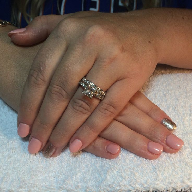 Pink and gold rounds natural gel fill with shellac overlay