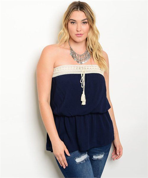 Navy Tube Top with Smock Waist