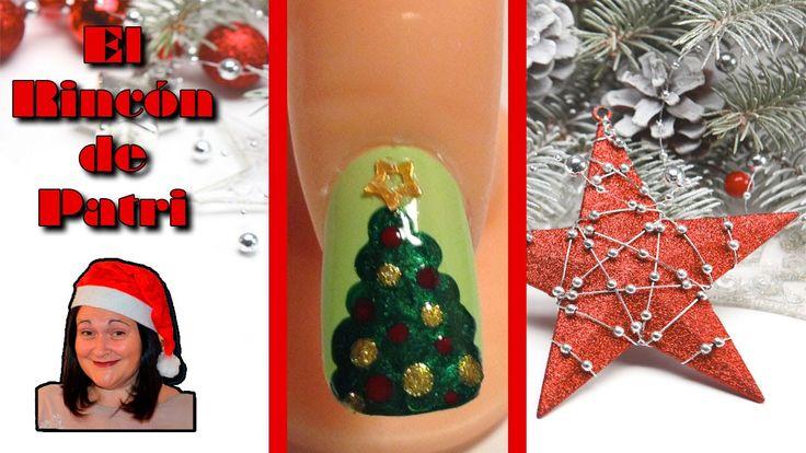 Diseño de uñas de árbol de Navidad de El rincón de Patri Nail Art. Sigue todos nuestros diseños de decoración de uñas en http://www.rincondepatri.com Christmas Tree Nail Art