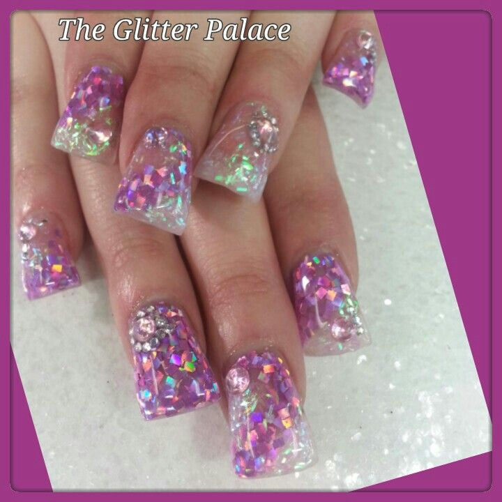 Glitter acrylic nails For appointments in Sac. call Kristal 916-670-0010 The Glitter Palace